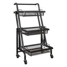 Trolley Stall Parallel Folding Portable Shelf Floor Kitchen Multifunction Storage Rack Kitchen Organizer Metal Stand Organizatio