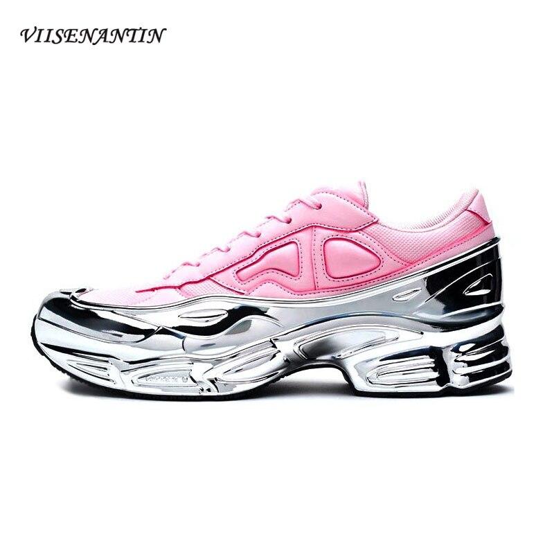 VIISENANTIN élégant en cuir respirant maille augmenté talon baskets femmes miroir liquide argent épais fond rétro vieilles chaussures