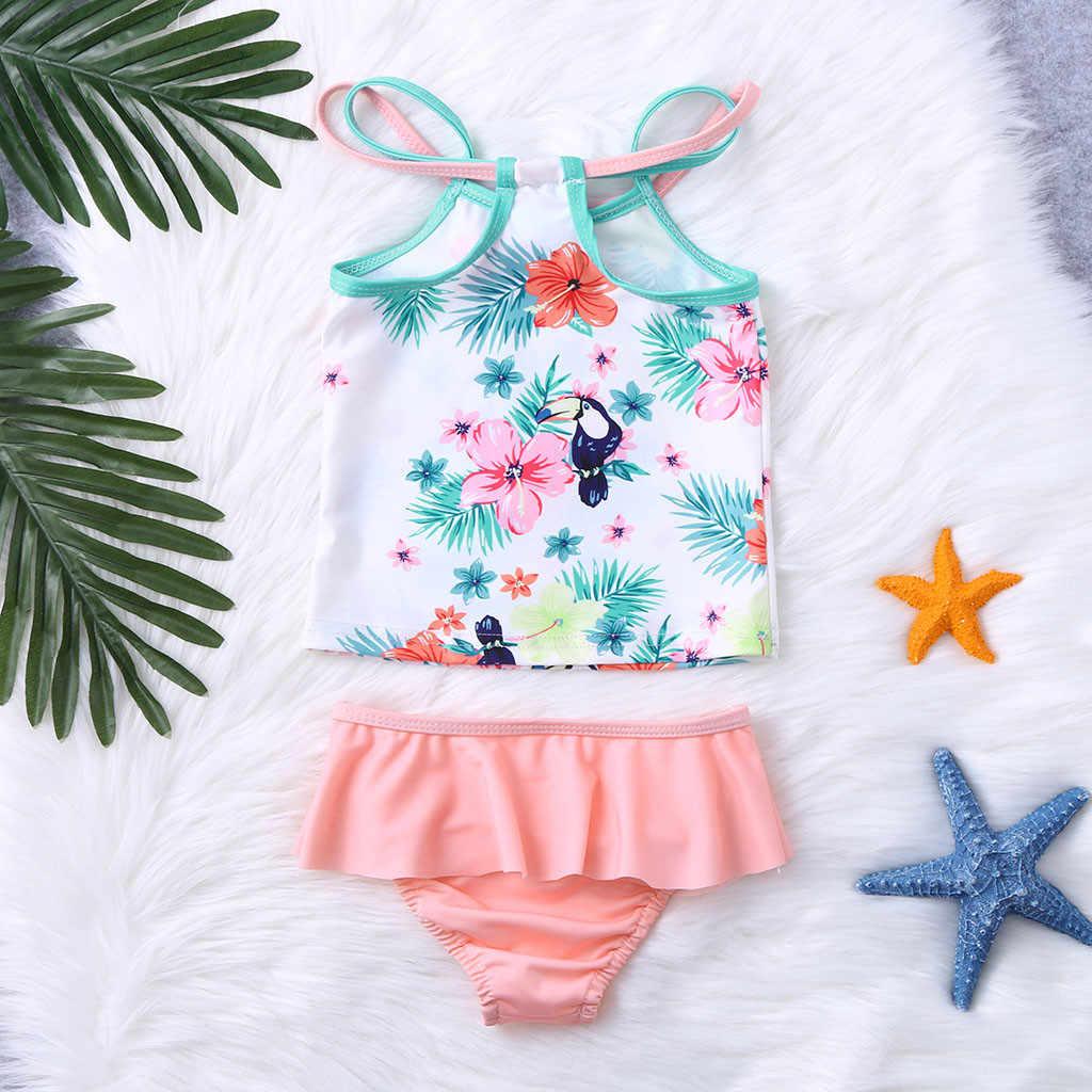 Piękne letnie dzieci dziecko bikini dziewczęce stroje kamizelka kwiatowy drukowane słodkie stroje kąpielowe strój kąpielowy dla domu wakacje strój kąpielowy