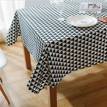 Geometry Gray Black Rectangle Tablecloth Home Decorative Cotton Linen Waterproof Table Cloth Tea Table Cover simanfei linen table cloth country style plaid print stylish rectangle table cover tablecloth home kitchen decoration