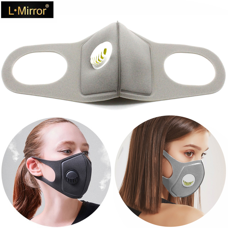 L.Mirror 1Pcs Sponge Dust Masks Respirator Mask With Breath Valve Anti-Dust Anti Pollution Face Mouth Mask Breathable For Women