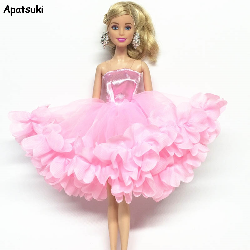 Pink Multi-layer Dress Off-shoulder One-Piece Party Gown Dresses For Barbie Doll Clothes For 1/6 BJD Dolls Accessories Kid Toys