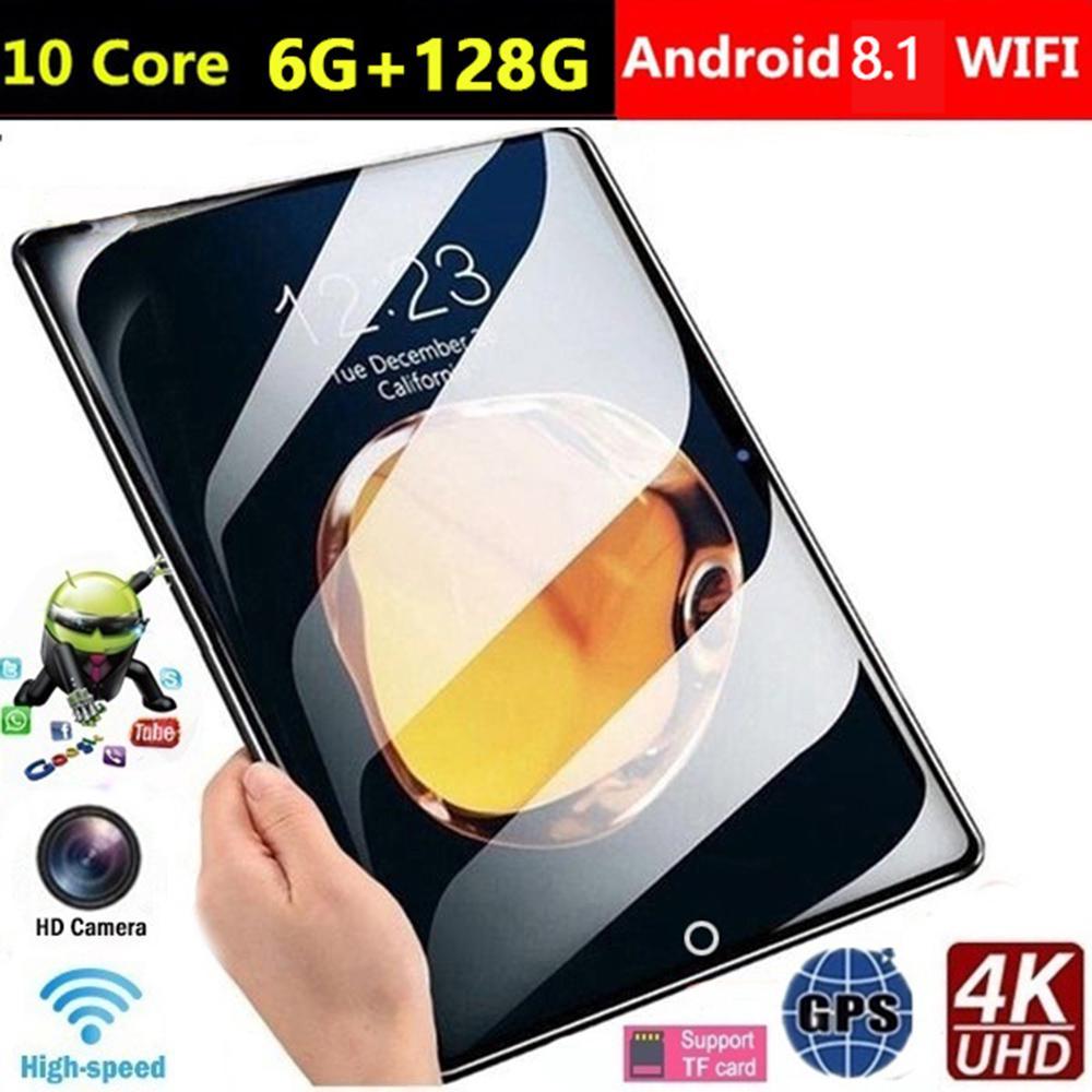 10-дюймовый планшет, Android 9,0, 6 ГБ ОЗУ, 128 Гб памяти, задняя камера 5 Мп, четырёхъядерный процессор, 10,1-дюймовый IPS-дисплей, Wi-Fi,Bluetooth