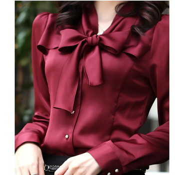 Hot Sale Korean Fashion Clothing Chiffon Satin Blouse with Bow Long Sleeve Womens Tops and Blouses Mori Ladies Office Shirt harajuku streetwear ol long sleeve chiffon blouse korean style womens tops and blouses 2019 fashion tops 5xl 6xl ladies clothing
