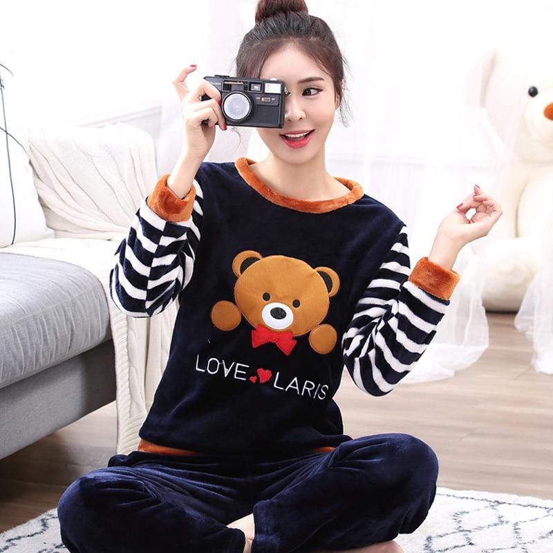 plus size S-5XL 6XL Winter Women Pyjamas Sets pajamas Sleepwear Suit Thick Warm Coral Flannel nightgown Female Cartoon Animals