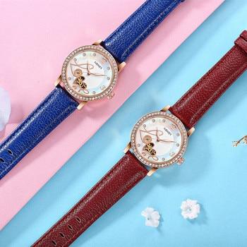 relogio feminino OUBAOER Automatic Mechanical Watch Women Fashion Rhinestone hollow design Watch Leather Strap Waterproof Clock 5