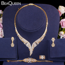 hibride luxury clear cubic zircon women jewelry sets bridal wedding wihte gold color necklace set parure bijoux femme n 280 BeaQueen Luxury 585 Gold Color 4pcs Nigerian African Wedding Jewelry Sets Full Paved Cubic Zircon Women Statement Jewelry JS250