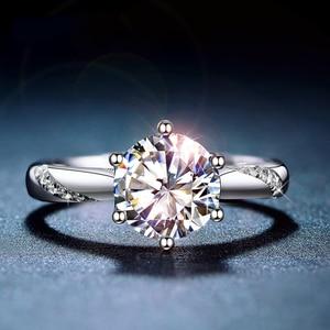 Image 2 - Classic 925 Sterling Silver moissanite Anello 1ct 2ct 3ct Taglio Brillante Rotondo Semplice di Anniversario di Aggancio Anello fine jewelry