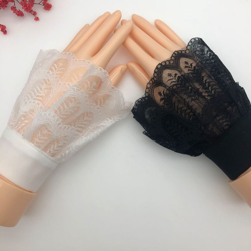 Women Autumn Layered Sheer Lace Decorative Horn Cuffs Leaves Patterned Detachable Sweater Fake Sleeve Doll Wrist Warmer