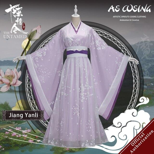 Uwowo TV serisi Mo Dao Zu Shi en olgunlaşmamış Jiang Yanli Cosplay kostüm antik kadın giysisi aksesuarları ile
