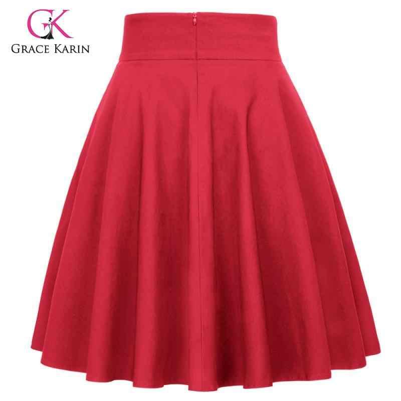 Grace karin vintage plissado a linha saia feminina casual cintura alta queimado saias balanço 2020 na altura do joelho midi festa skater saia