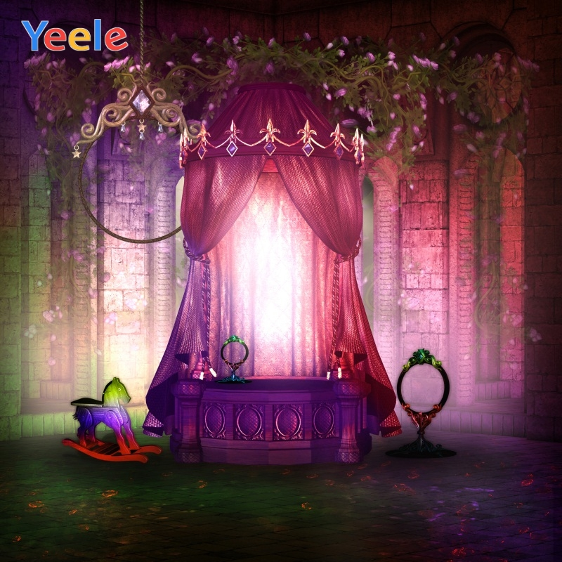 Yeele Cartoon Curtain Bed Interior Scene Baby Newborn Photography Backgrounds Customized Photographic Backdrops For Photo Studio