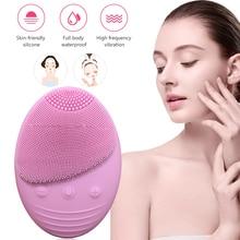 Очищающая щетка для лица, звуковая вибрация, силиконовый очиститель для лица, глубокая пора, водонепроницаемая, красота, мягкая, глубокая очистка лица, кисти