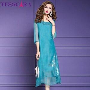 Image 1 - TESSCARA vestido de gasa suave para mujer, elegante vestido de fiesta de gasa suave para mujer, vestido de cóctel Vintage con lentejuelas