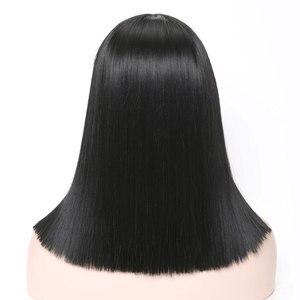Image 5 - COSYCODE 여성을위한 bangs와 블랙 합성 가발 16 inch 40 cm 코스프레 가발 어깨 길이 의상 가발 스트레이트