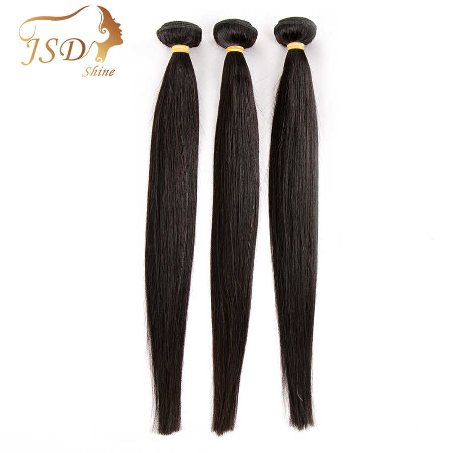 JSDShine Brazilian Hair Weave Bundles Straight Human Hair 3 Bundles 100g/pc Natural Color Non Remy Hair Extensions
