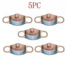 Masque facial imprimé humoristique, coupe-vent, sans couture, en tissu lavable, réutilisable, 1/2/3/4 pièces