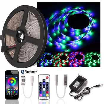 2835 RGB LED Strip Light DC 12V 5M Waterproof 60 LEDs/m Ribbon LED Diode Tape + Bluetooth / RF Remote Controller + Power Adapter - DISCOUNT ITEM  20% OFF All Category