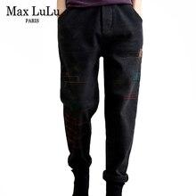 Max LuLu New Winter Korean Designer Women Warm Harem Pants Ladies Loose Plaid Fur Jeans Vintage Elastic Denim Trousers Plus Size