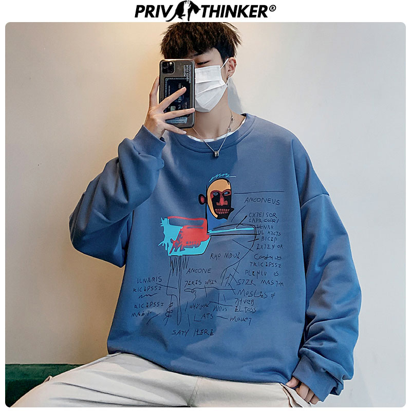 Privathinker Men's Funny Spring Hoodies Unisex 2020 Fashion Printed O-Neck Sweatshirt Male Oversize Street-style Pullover Tops