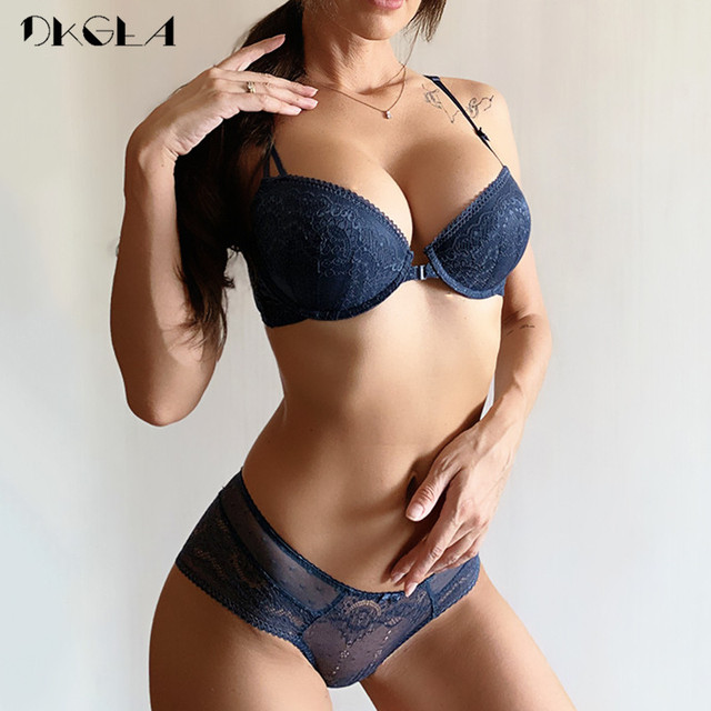 Front Closure Bra Panties Sets Lace Embroidery Women Lingerie Set Gather Brassiere Black Thick Push Up Bras Sexy Underwear Set