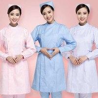 2019 Women Short Sleeves Solid Color Hospital Doctor Uniform Scrub Tops Medical Services Lab Coat Adult Nurse Dress Costume