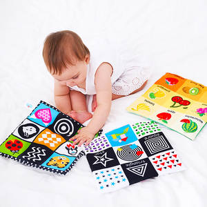 1PCS Baby Toys For Newborn Soft Cloth Book 0-12 Months Kids Learning Educational Black