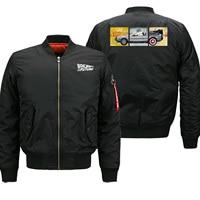 Mens Bomber Jacket 2019 Winter Thick Coat Letter Print Back to the Future Man Baseball uniform Funny Hip Hop Men Pilot Jacket