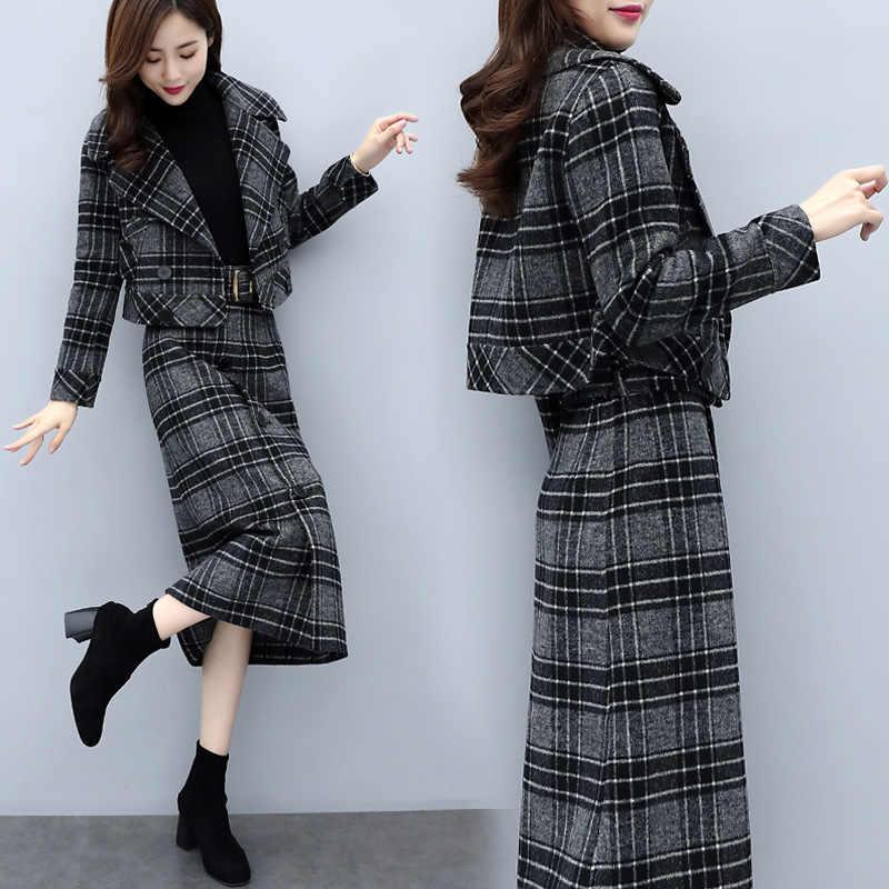 2 stück Arbeit Blazer Sets Damen Kurze Jacke und Lange Midi Rock Anzüge Frauen Grau Plaid Rock Outfits Weibliche Business anzüge
