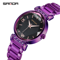 SANDA Luxury Stainless Steel Strap Starry Women's Quartz Watch Business Waterproof Clock Wristwatch Female Relogio Feminino 2019