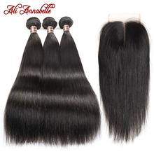 ALI ANNABELLE HAIR Straight Hair Bundles with Closure 100% Virgin Human Hair Bundles with Closure Brazilian Hair Weave Bundles(China)