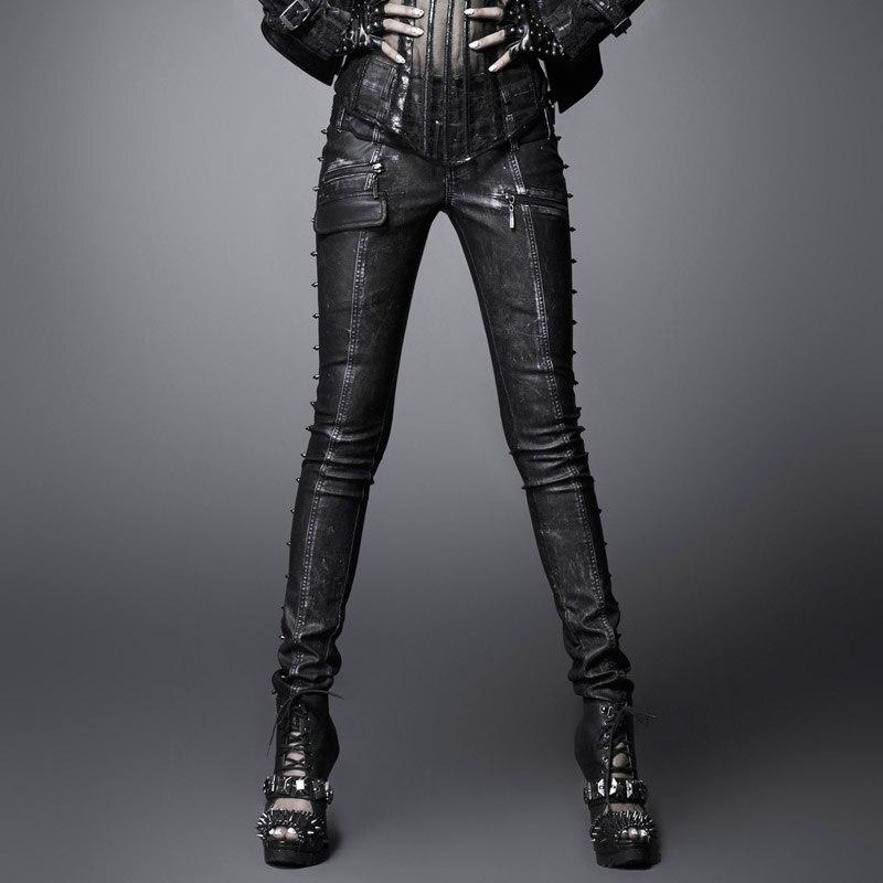 PUNK RAVE Women's Punk Personality  Rivet Black Gray Wash Water Pu Leather Long Pants Sexy Club Pencil Trousers
