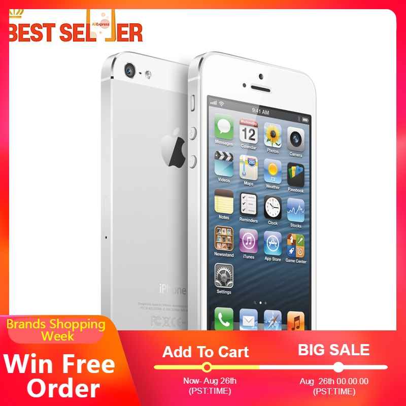 APPLE iPhone 5 5-Dual-Core-4.0-Inches 32GB/64GB-ROM 16GB Gorilla Glass 8mp Used Multi-Language-Phone