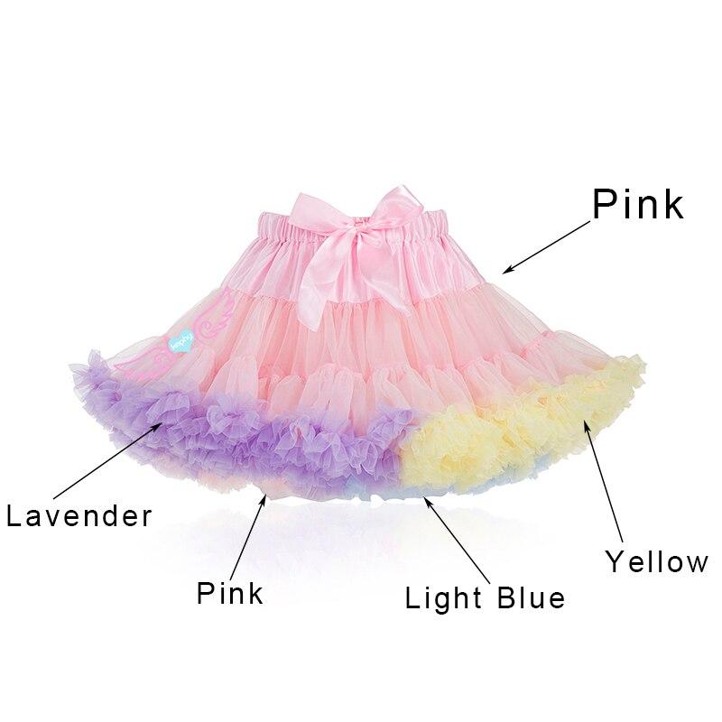 Pink fluffy chiffon pettiskirt girls tutu skirt  princess Skirt dance costume party clothing Women Jupes  Lolita petticoat
