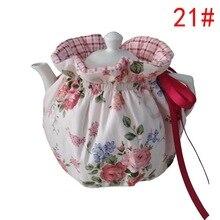 Розовый цветочный клетчатый домашний чайник в японском стиле сохраняет тепло/Защита от ожогов изоляционный чехол хлопковый чайник Пыленеп...