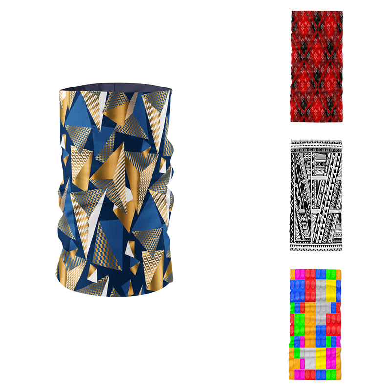 Creative Design Fashion Layered Cross Pattern 3D Printed Head Scarf Neck Gaiter Summer Hijab Scarf Magic Sports Cycing Tube Mask
