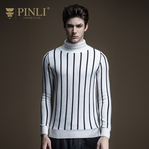 Pinli 2020 Winter New Discount Clearance Slim Striped Turtleneck Pullovers Wool Color Block Warm Casual Men Long Sleeve Sweater