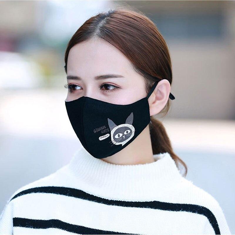 1PCS Cotton Dustproof Allergy Mouth Face Mask Fashion Cat Women Muffle Face Mouth Masks Reusable