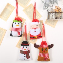 Non-woven DrawString Christmas Gift Bag Cartoon Design Christmas Candy Snack