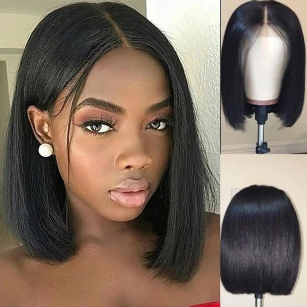 Straight Short Bob Lace Front Human Hair Wigs 8-16 Inches 13x4  Brazilian Hair Bob Wigs  Pre Plucked With Baby Hair Frontal Wigs