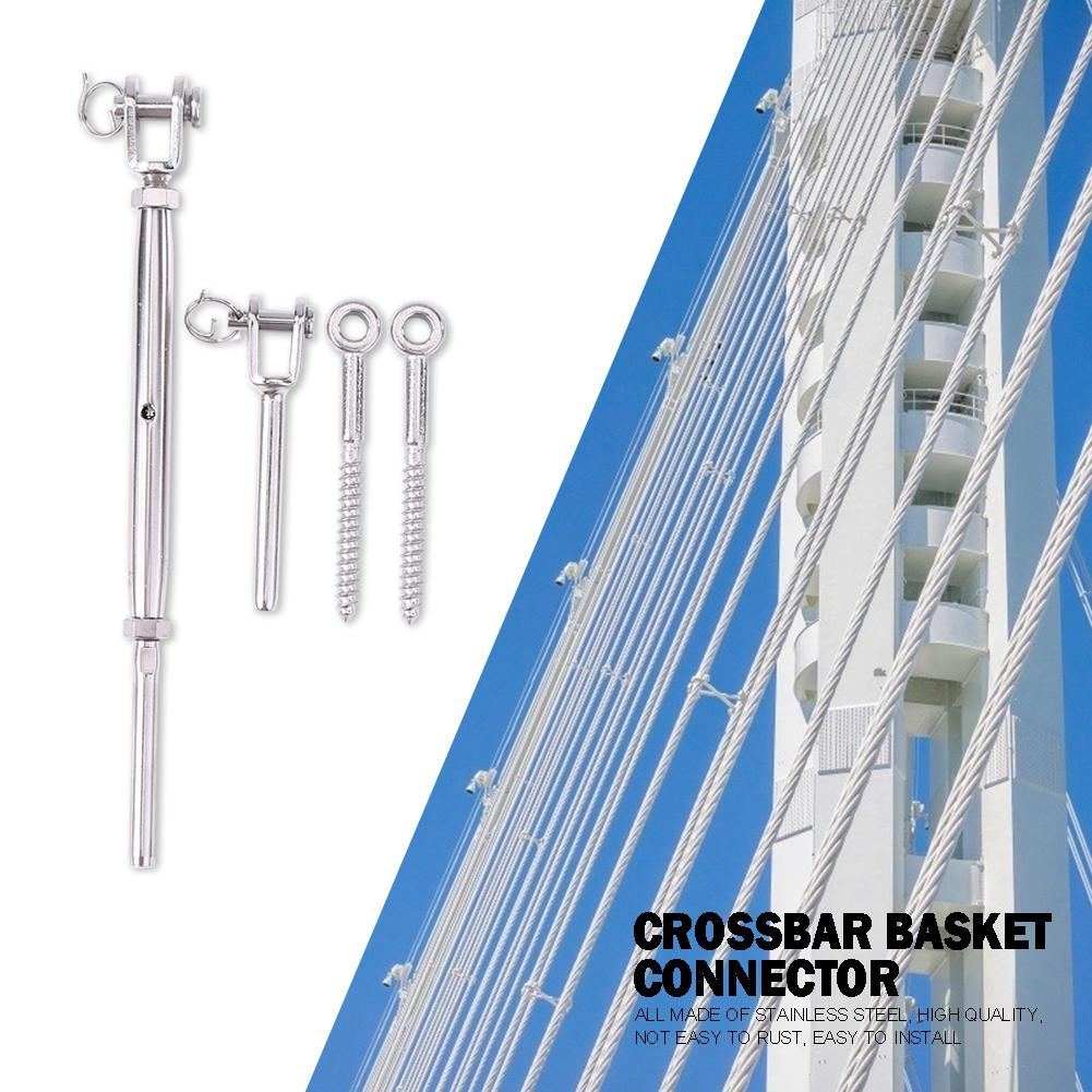 Adjustable Rope Fittings Stainless Steel Deck Cable Track Kit For 1/8 Inch Wire Guardrail Wood Posts Turnbuckle Set