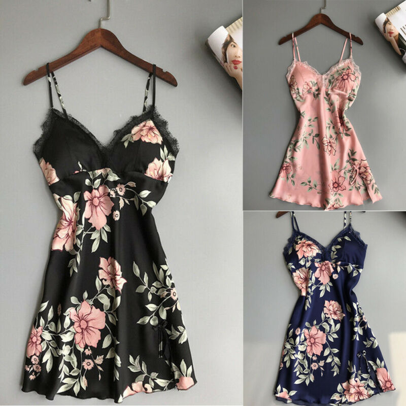 Sexy Style Fashion Lace Sling Floral Print Satin Look Deep V-Neck Backless Sleepshirts For Ladies Women's Nightwear Plus Size