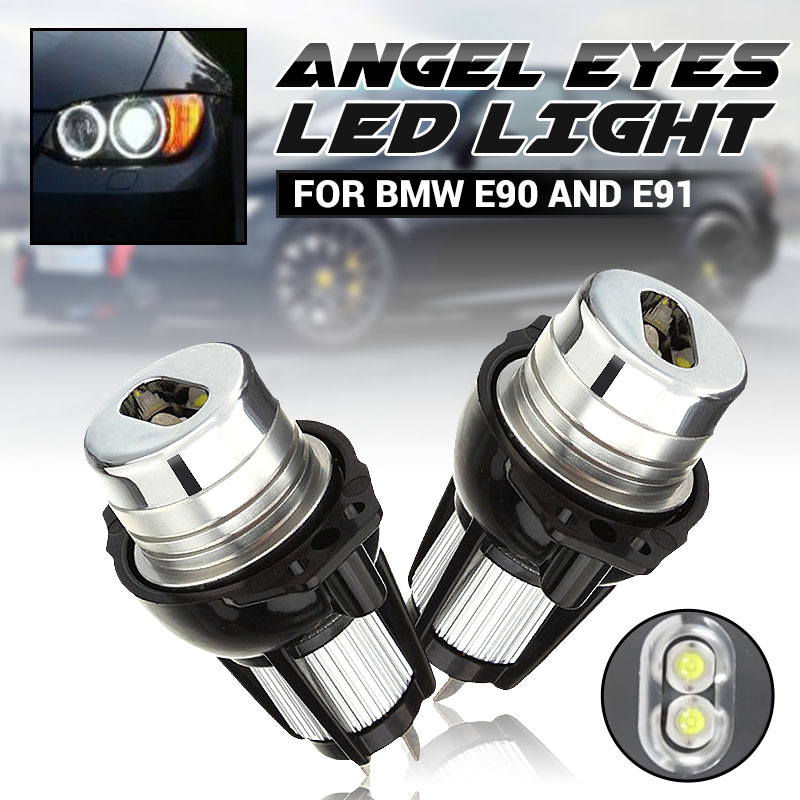 2X 6500k White Angel Eyes <font><b>LED</b></font> Side Marker Light Bulb <font><b>Headlights</b></font> for <font><b>BMW</b></font> <font><b>E90</b></font> E91 3 Series 2006 2007 2008 image