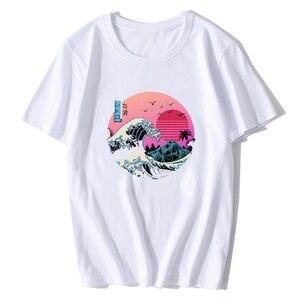 The Great Retro Wave Japan Anime футболка Ulzzang Harajuku уличная хлопковая Футболка Hombre Мужская забавная крутая футболка 3d