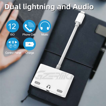 3 em 1 3.5mm Jack Headphone Charger Adapter Audio Para iPhone X 8 Plus 7 6 Aux Charging Splitter Adapter Adapter Conector OTG Cable 1