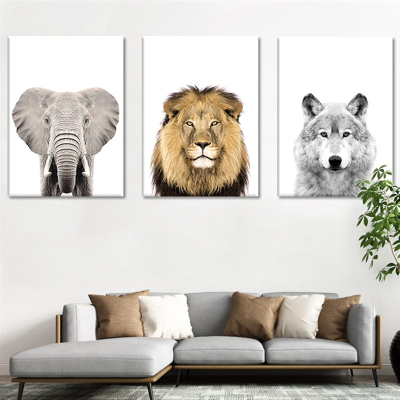 Lion Zebra Elephant Giraffe Baby Animals Art Print Poster, Safari Picture Canvas Painting Kids Room Nursery Wall Decor
