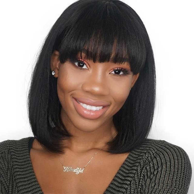 Ms Love Short Human Hair Wig With Bangs Bob Wigs For Women Non Remy Brazilian Straight Hair Wigs Ms Love