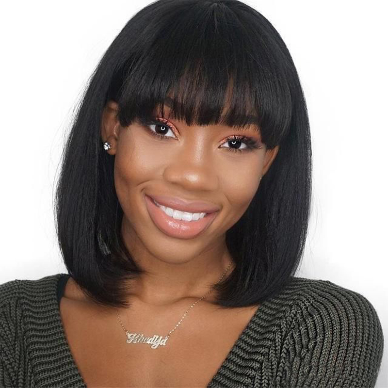 Short Human Hair Wig With Bangs Bob Wigs For Women Natural Color 613 Blonde Yellow Non Remy Brazilian Straight Hair Wigs Ms Love