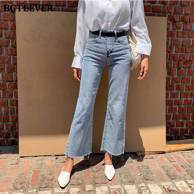 BGTEEVER Streetwear Denim Blue Button Fly Loose Wide Leg Denim Jeans Women High Waist Tassel Vintage Female Jeans Pants 2020