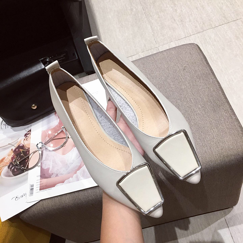 2019 Shallow Shoes Women's Shoes Low Cut Shoes Summer Pointed Single Shoes Casual Apartment  PU Rubber Sole  Sturdy Slip-on